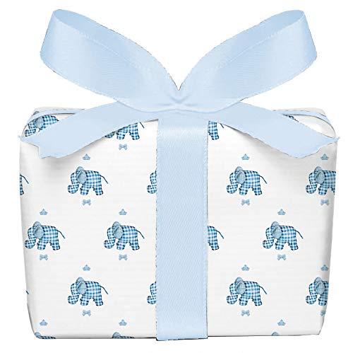 5er Set Geschenkpapier Bögen Elefant karo blau für Kinder Junge Kindergeburtstag, Baby Geburt Taufe, gedruckt auf PEFC zertifiziertem Papier, 50 x 70 cm