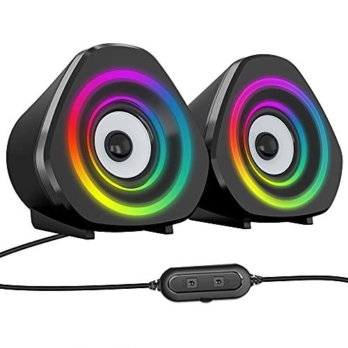 NIJOO Computer Speakers PC Desktop Laptop Speakers RGB Light 63ft Power Cord Volume Control USB Powered for PC/Laptops/Desktops/Phone/Ipad/Game Machine