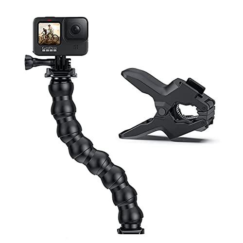 APKLVSR Jaws Flex Clamp Mount Gooseneck Compatibile con le fotocamere GoPro Hero 9, 8, 7, Max, Fusion, Hero (2018), 6, 5, 4, Session, 3+, 3, 2, 1, DJI Osmo, Xiaomi Yi