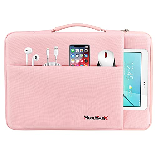 Meolsaek 15.6 Inch Laptop Sleeve Case for 15.6 inch HP, Dell, Lenovo, Notebook, Durable Laptop Carrying Computer Case for ASUS ZenBook Pro, Water-Resistant Hard Shell Case with Handle (15.6 Inch Pink)