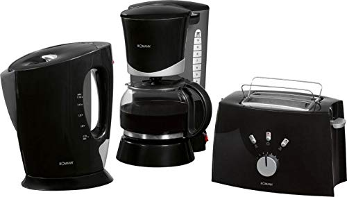 3en 1Juego de desayuno en–sischen Negra Diseño Cafetera Eléctrica–Tostadora–Hervidor de agua