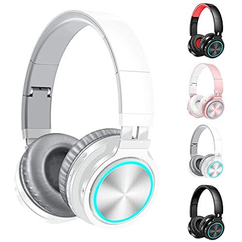 Auriculares inalámbricos sobre oreja con micrófono ligero de 7 colores, galón de profundidad, auriculares estéreo con cable y cable plegable en micrófono para teléfono celular, PC, TV, PC, orejeras su