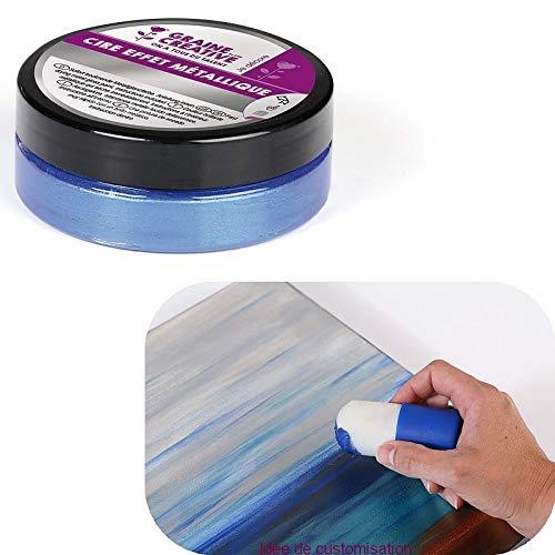 DTM-SOL Cire Effet métallique, Couleur Bleu Cobalt, 62.5gr, Patine pour Carton, Bois, Argile, Polystyrène