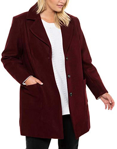 Ulla Popken Onlqueen L/s Glitter Twist Dress Jrs Abrigo, Rojo (Beere 83),...