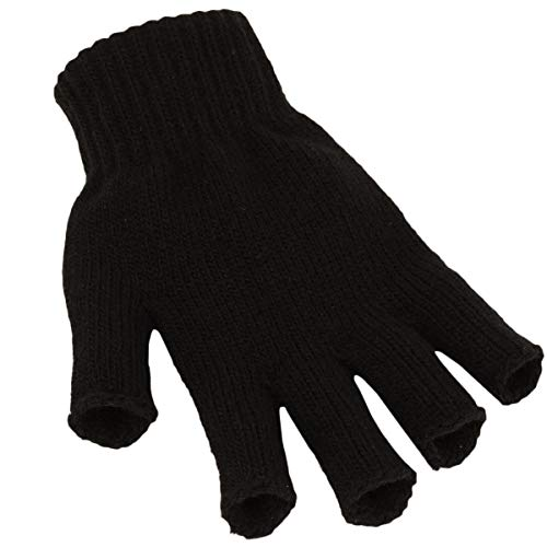 Beechfield Fingerlose Strick Handschuhe schwarz - S/M