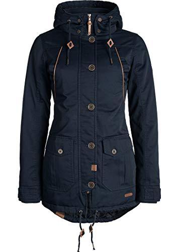 DESIRES Annabelle Damen Übergangsparka Parka Übergangsjacke Lange Jacke mit Kapuze, Größe:S, Farbe:Insignia Blue (1991)