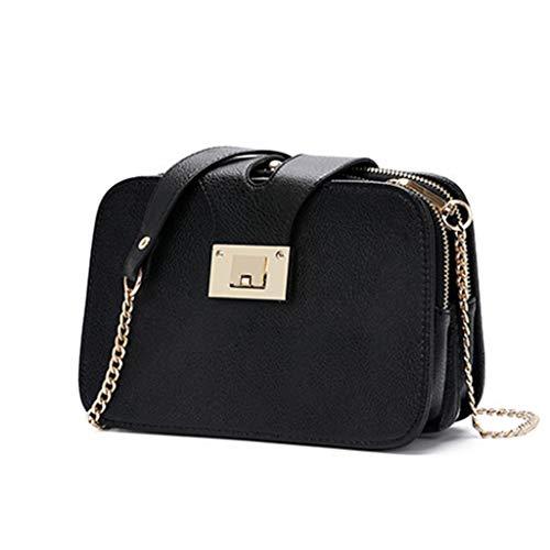 LQY Damen Umhängetasche, Mode weibliche Umhängetasche, Handytasche, Schultertasche, kleine quadratische Tasche,Schwarz