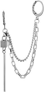 Threader Bar Tassel Chain Cuff Wrap Clip On Small Hoop Long Dangle Drop Earrings for Men Women Cartilage Two Holes Persona...