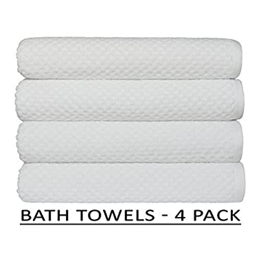 Cotton Craft 4 Pack Euro Spa Waffle Weave Oversized Bath Towels 30x56 - White - 100% Pure Ringspun Combed Cotton - True Luxury Inspired by the Finest European Spas and Resorts