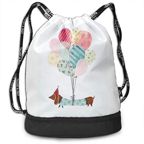 iqishengma Luftballon und Dackel Print Drawstring Rucksack Tasche Outdoor Bundle Rucksack Gym Sackpack Beach Rucksack für Frauen & Männer