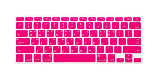 super-super Korean Letters Keyboard Cover For Macbook Air 13 Pro 13 15 17 Keypad Protective Film for iMac Magic Keyboard US Layout-Rose red