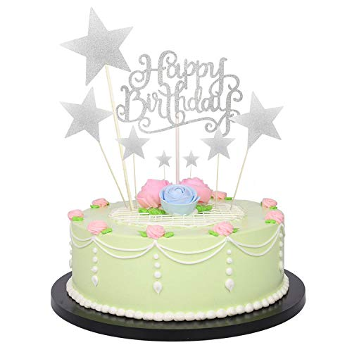1 PCS Birthday Cake Decoration Happy Birthday Handmade Black Cake Topper and 7 PCS Pentacle Stars Cake Toppers Decoration for Party Decoration by Seasonsky (Silver)