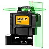 KAIWEETS レーザー 墨出し器 グリーンレーザー パルスモードの自動補正建設レーザー 『垂直1本、水平360°、地墨点x2』 自動補正|傾斜モード 高輝度|高精度 最大36時間の操作時間 リチウム電池|充電可能 磁気ピボットベース|ターゲットプレート(KT360B)