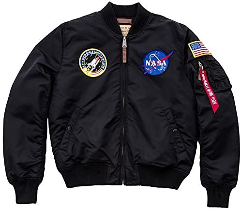 ALPHA INDUSTRIES Ma-1 VF NASA Chaqueta Bomber, Negro, M para Hombre