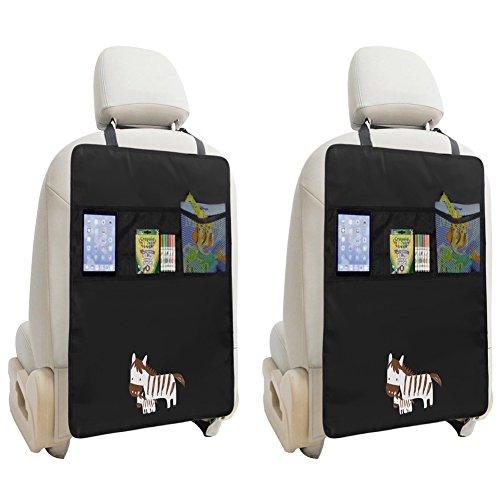 ZUOAO 2 Pezzi Organizzatore Tappetino para Calci Proteggi Sedile Auto Impermeabile con 2 Tasche per Giocattoli iPad Tablet per Maggior Parte Auto