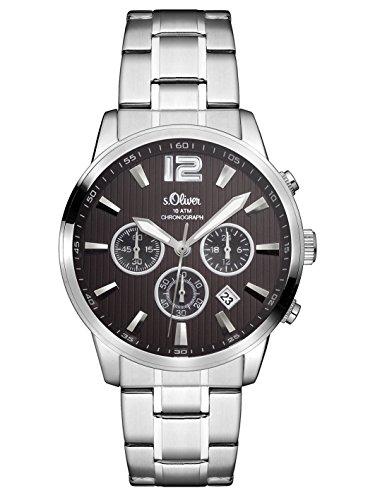 s.Oliver Herren Chronograph Quarz Uhr mit Edelstahl Armband SO-3173-MC, silber