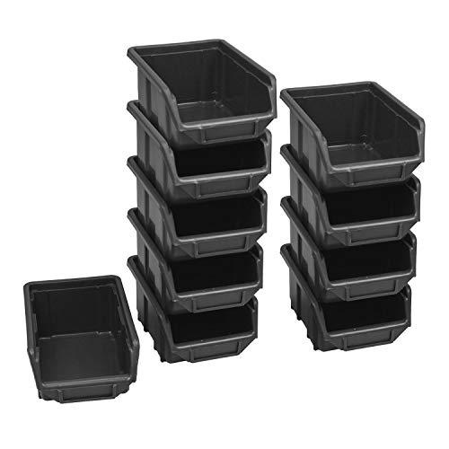 10 Stück Schwarz Stapelbox Werkstattkiste Schraubenbox Regalkasten Materialbehälter