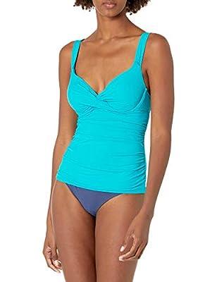 Anne Cole Women's Twist Front Underwire Cup Sized Tankini Swim Top, Cobalt Blue, 34B/32C