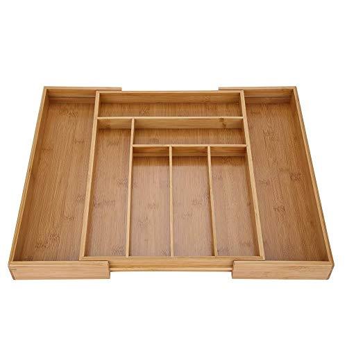 Almacenamiento de cubiertos, compartimiento ordenado del organizador de la cocina del cajón del almacenamiento de bambú extensible de los cubiertos