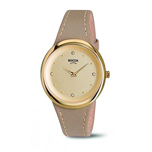 Boccia Damen Analog Quarz Uhr mit Leder Armband 3276-02
