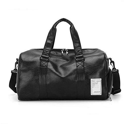 Jklt Large-capacity Luggage Bag Travel Tote Luggage Bag Men's Leather Carry on Luggage Waterproof Fabric (Color : Black, Size : 45x24x23cm)