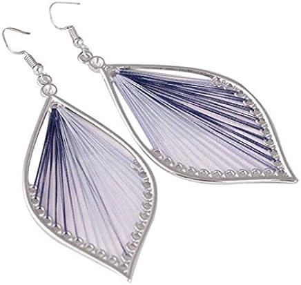 Creazrise Women's Fashion Hollow Colorful Leaves Earrings Dangle Ear Drop Earrings for Women Girl (A)