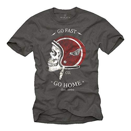 MAKAYA Camisetas Motocross - Diseño Casco de Moto - Gris L