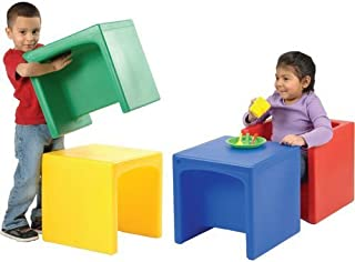 Constructive Playthings Cube Chairs, Set of 4 with Two Different Seat Heights or Flip to Use as a Table for Ages 9 Month and Up