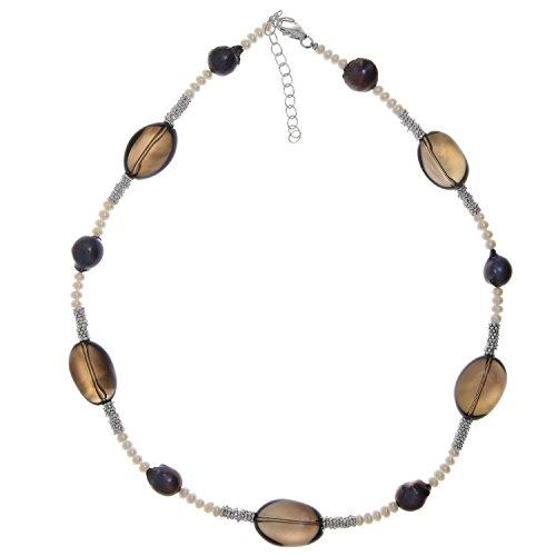 Perlenkette echt 925 Sterling Silber mit Süßwasser-Perlen und Rauchquarz 45-50 cm lang Damen Halskette