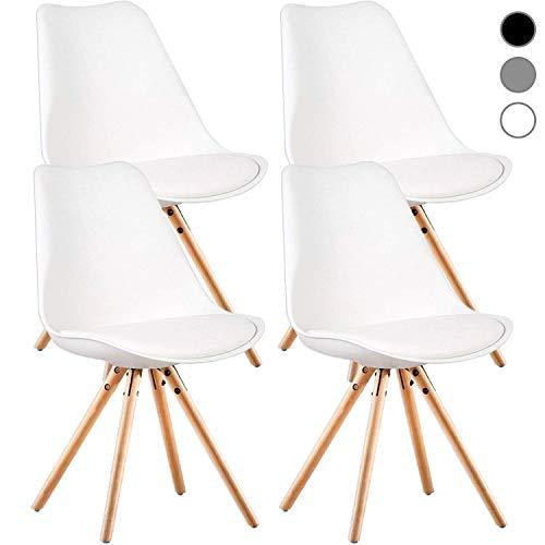 MIFI Esszimmerstühle 4er Set,Esszimmerstuhl 4 x Set Wohnzimmerstuhl Esszimmerstuhl Bürostuhl Kunststoff(Weiß)