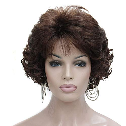 Kalyss Dark Brown Short Curly Wavy Wig with Hair Bangs 100% Imported Premium Synthetic Fashion Brown Hair Wigs for Women (Brown)