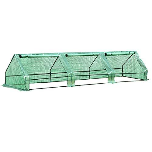 Serra per Piante Fiori Ortaggi Colivazione da Giardino Balcone con Tubi di Acciaio e Copertura in Polietilene, con 3 Porte, Verde (400cm x 100cm x 80cm)