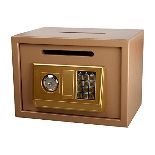 Caja de Seguridad para la Oficina, Caja Fuerte para Guardar Dinero en Efectivo, Caja de Seguridad electrónica, Caja Fuerte de Carga Frontal, Acero, Dorado, 35x25x25cm