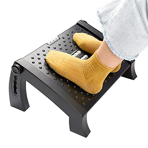 SEBIDER Height Adjustable Footrest with Massage Surface Under Desk, Ergonomic Comfort Home & Office Foot Stool, Black