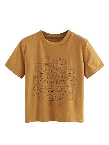 Romwe Women's Graphic Printed Cartoon Portrait Short Sleeve Casual T-Shirt Top Khaki Medium