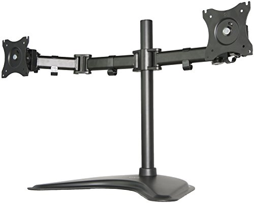 VIVO Dual Monitor Mount Stand, Fully Adjustable Desk Free-Standing for 2 LCD LED Screens Up To 27 inches (STAND-V002P)