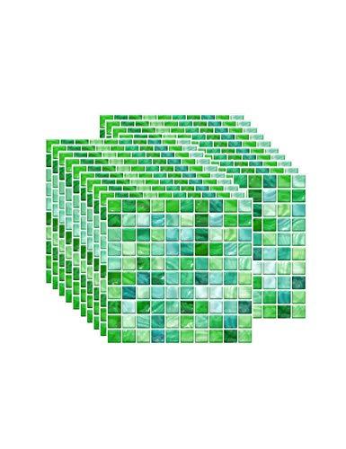 Zhhlaixing Fliesenaufkleber PVC, Mosaik Fliesen Klebefolie Selbstklebend Hitzebeständig Wasserdicht Fliesensticker für Küche Fliesendekor Wandaufkleber (10 x 10 cm / 3,93 x 3,93 Zoll) 20PCS