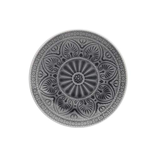 BUTLERS Sumatra Teller-Set in Grau 6 x Ø 21 cm - Essteller 6er Set mit Muster - Speiseteller Set in bunt - Salatteller