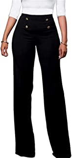 Women's Casual Stretchy High Waisted Button Down Wide Leg Long Pants