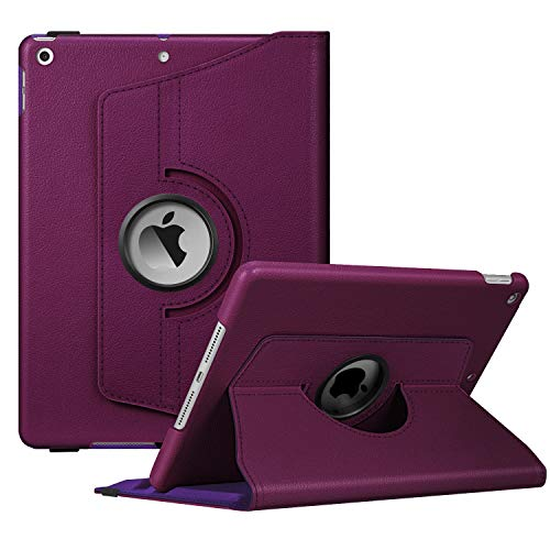 Fintie Rotating Case for New iPad 7th Generation 10.2 Inch 2019 - [Built-in Pencil Holder] 360 Degree Rotating Smart Protective Stand Cover with Auto Sleep/Wake for iPad 10.2' Tablet, Purple