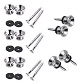 Pakala66 Guitar Strap Buttons Metal End Pins with Mounting Screws for Electric Acoustic Guitar, Bass, Ukulele (Silver-10 Pack)