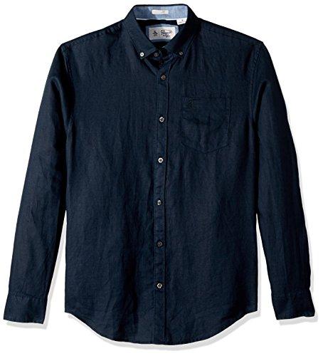 Original Penguin Men's Long Sleeve Linen Shirt, dark sapphire, Large