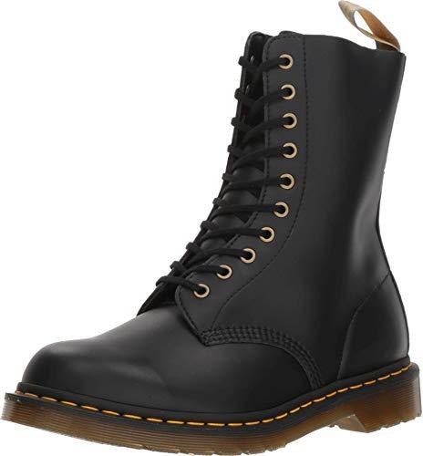 Dr. Martens Women's Vegan 1490 Combat Boot, Black Felix Rub Off, 7