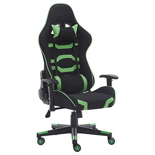 KUN_SK Videospielstühle, höhenverstellbar, um 155 Grad neigbar, Gaming-Stühle mit Kopfstütze und Lendenkissen (grün)