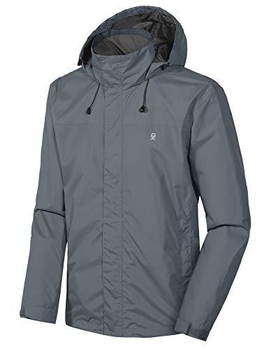 Little Donkey Andy Men's Waterproof Rain Jacket Outdoor Lightweight Rain Shell Coat for Hiking, Travel Gray Size L