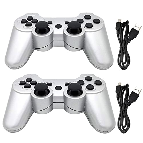 Dimrda PS3 Controller Wireless PS 3 Remote Controller Bluetooth PS3 Wireless Controller for Playstation 3 Controller Joystick with Charging Cords Silver 2 Pack