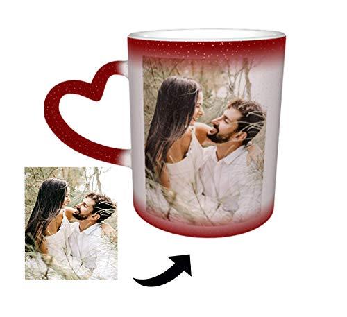 Benutzerdefinierte Foto Wärme ändernde Kaffeetasse,Magische Tassen Personalisierte Fototasse Hitzeempfindliche Farbe ändernde Kaffeetasse Milch Tasse Geschenk für Freunde Familie Rot