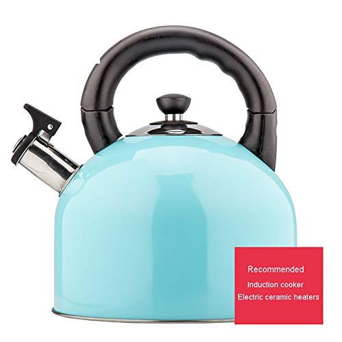 Hervidor de agua de acero inoxidable con sonido silbido, apto para induccion de 4,4 litros, cocina de induccion de gas universal, hervidor de estufa moderno Size azul