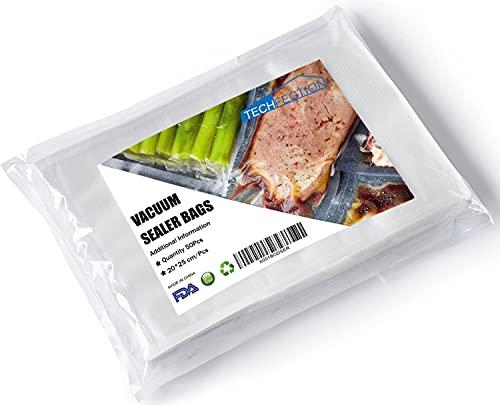 Bolsas de Vacio para Alimentos,50 Bolsas 20x25cm Bolsas para envasar al vacio,Bolsa de Vacío Gofradas para Conservación y Cocción Sous Vide, Boilable y sin BPA