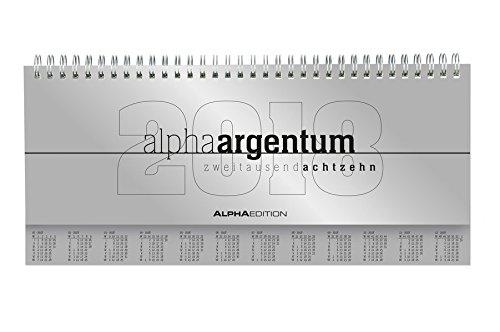Produktbild Tisch-Querkalender alpha argentum 2018 - Tischkalender / Bürokalender (29, 7 x 13, 5) - 1 Woche 2 Seiten - silber